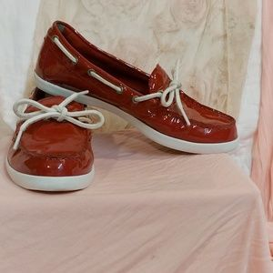 Red Patent Leather Topsider Style Loafers by Cole